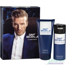 David Beckham Classic Blue Set (Deo Spray 150ml + SG 200ml) for Men